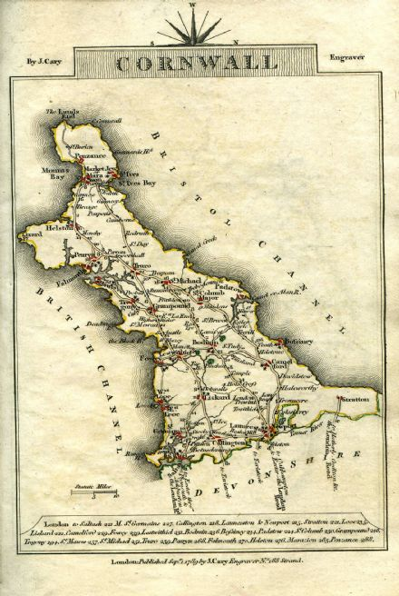 Cornwall County Map by John Cary 1790 - Reproduction